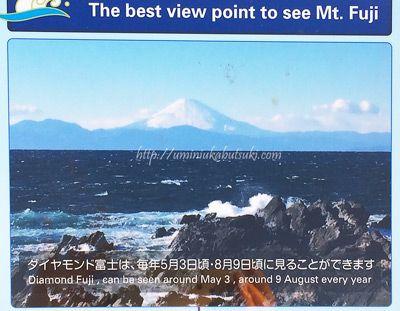 毎年5月3日と8月9日頃は、城ヶ島西側からダイヤモンド富士が見られる。