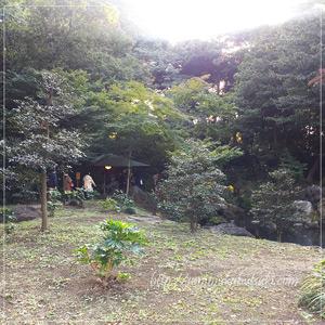 六義園の園路の小脇にある滝見茶屋