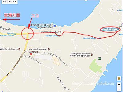 Punta Enganoロードがクエゾン・ナショナル・ハイウェイに交わるT字路。