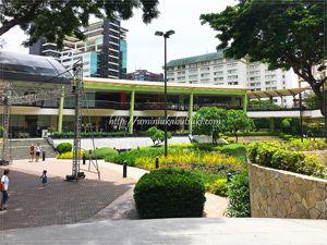 アヤラモールの中庭。植物が豊富で自然豊かな雰囲気です。