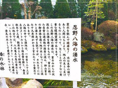 透水性の溶岩に浸み、神山富士の御身体を通って忍野八海にコンコンと湧き出す富士山の霊水についての説明。