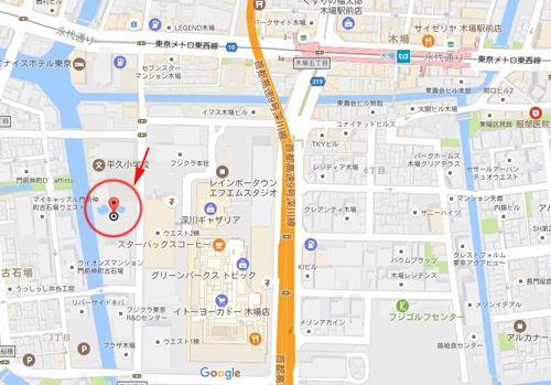 ギャザリア・ビオガーデンの地図。東京メトロ木場駅から徒歩5分のスポット。