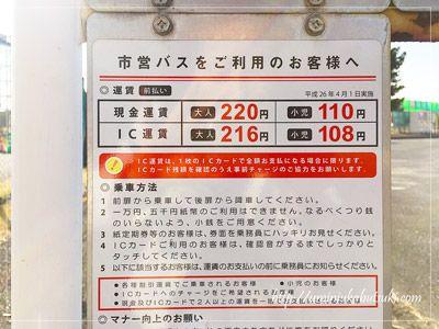 市営バスの運賃表。