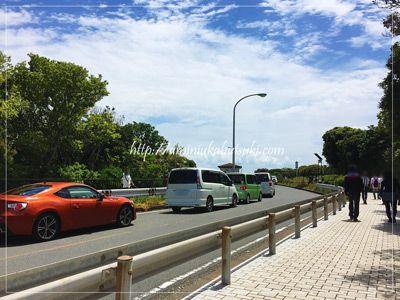 県立城ヶ島公園の駐車場は混雑で長蛇の列。