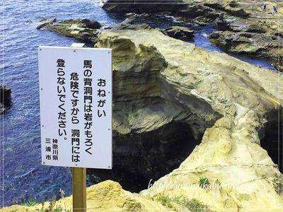 海蝕洞穴の馬の背洞門の天井部分は、かなり薄くなっている。