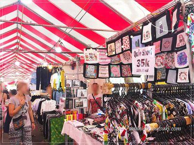フォムグーラオ通り周辺エリアの「9月23日公園」で開催されるマーケットでは衣料品や雑貨店も並ぶ