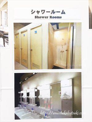ホテル3000浅草本店(HOTEL3000-asakusa honten)のシャワールームと洗面台