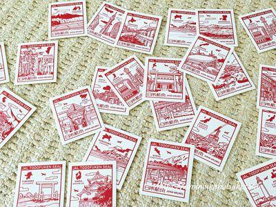 jal都道府県シールキャンペーン第2弾で集めた切手風のシール