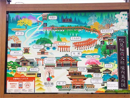 京都市にある伏見稲荷大社の境内案内地図