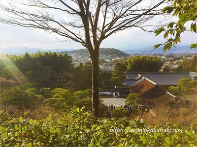 小高い丘からの眺めが美しい銀閣寺の庭園