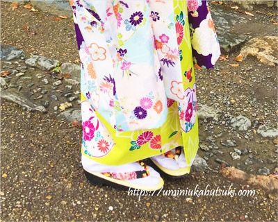 京都の嵯峨嵐山観光でレンタルした着物と草履