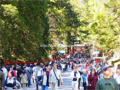 大混雑で東照宮の入場チケット売り場に続く長打の列
