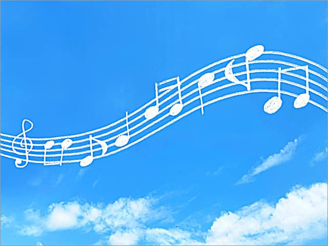 楽しい音楽が流れている風景